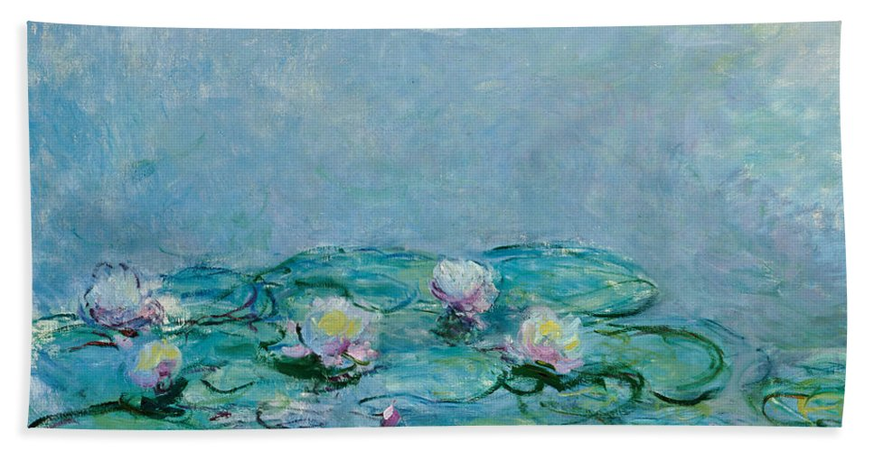 French Bath Towel featuring the painting Water Lilies by Claude Monet