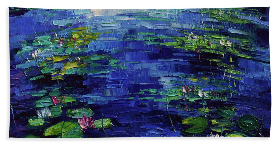 Water Lilies Magic Hand Towel featuring the painting Water Lilies Magic by Mona Edulesco