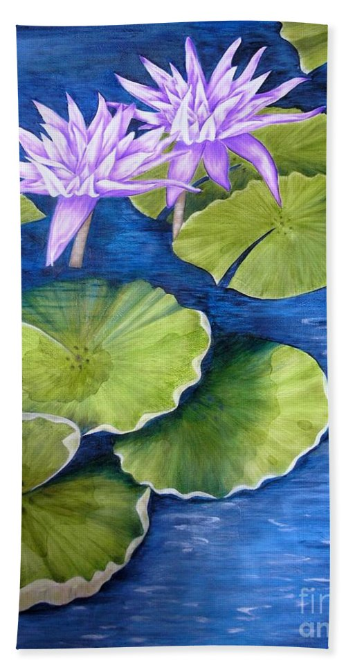 Water Lilies Hand Towel featuring the painting Water Lilies by Mary Deal