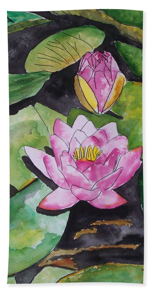 Water Lily Bath Towel featuring the painting Water Lily by Derek Mccrea