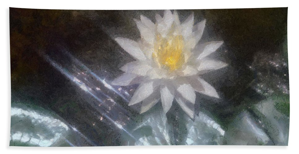 Water Lily Hand Towel featuring the painting Water Lily In Sunlight by Jeffrey Kolker