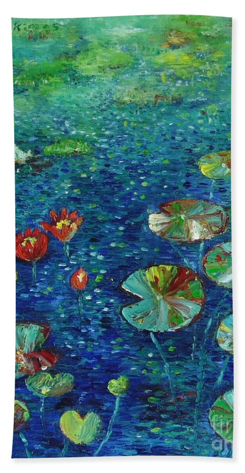 Lotus Paintings Hand Towel featuring the painting Water Lily Lotus Lily Pads Paintings by Seon-Jeong Kim