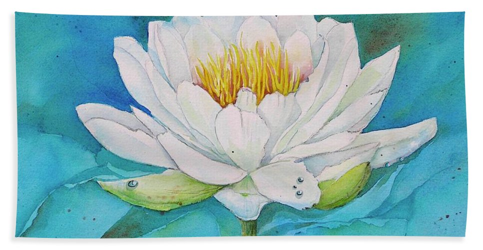 Water Lily Hand Towel featuring the painting Water Lily by Midge Pippel