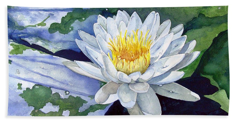 Flower Bath Towel featuring the painting Water Lily by Sam Sidders