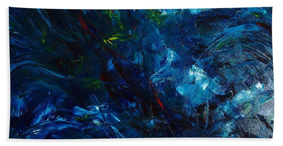 Water Bath Sheet featuring the painting Water Reflections 1 by Nancy Mueller