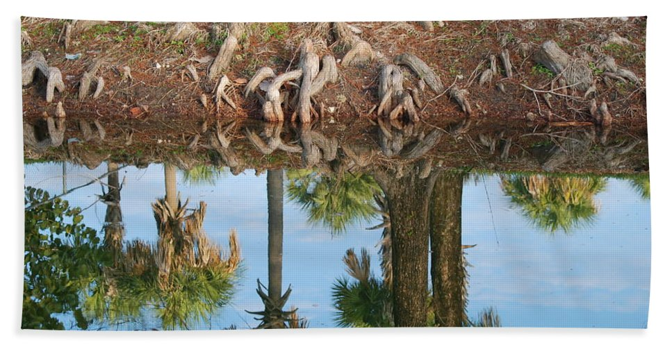 Roots Hand Towel featuring the photograph Water Reflections by Rob Hans