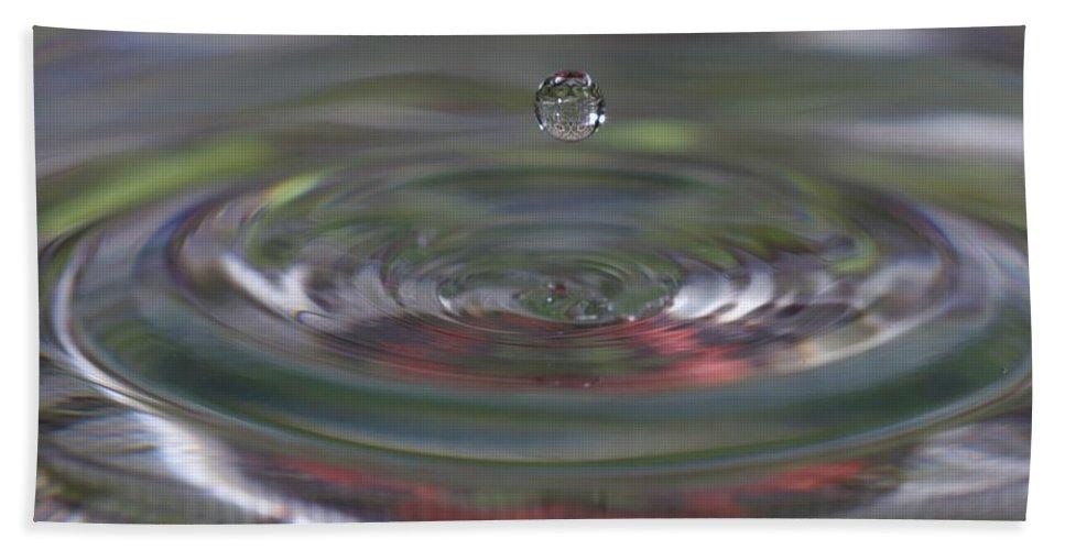 Water Drop Bath Sheet featuring the photograph Water Sculpture Green Series 2 by Kristina Jones