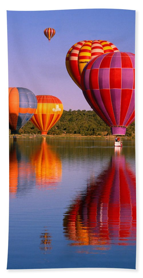 Hot Air Balloons Bath Sheet featuring the photograph Water Skippers by Jerry McElroy