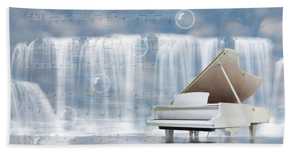 Digital Design Bath Sheet featuring the digital art Water Synphony For Piano by Angel Jesus De la Fuente