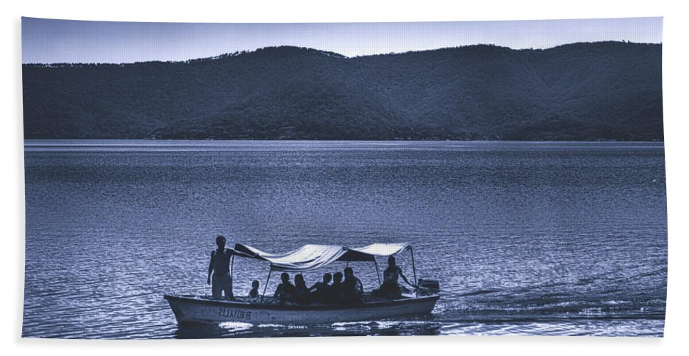 Ferry Hand Towel featuring the photograph Water Taxi - Lago De Coatepeque - El Salvador by Totto Ponce