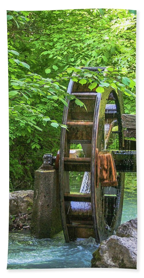 Water Wheel. Waterwheel Hand Towel featuring the photograph Water Wheel In The Woods by Amy Sorvillo