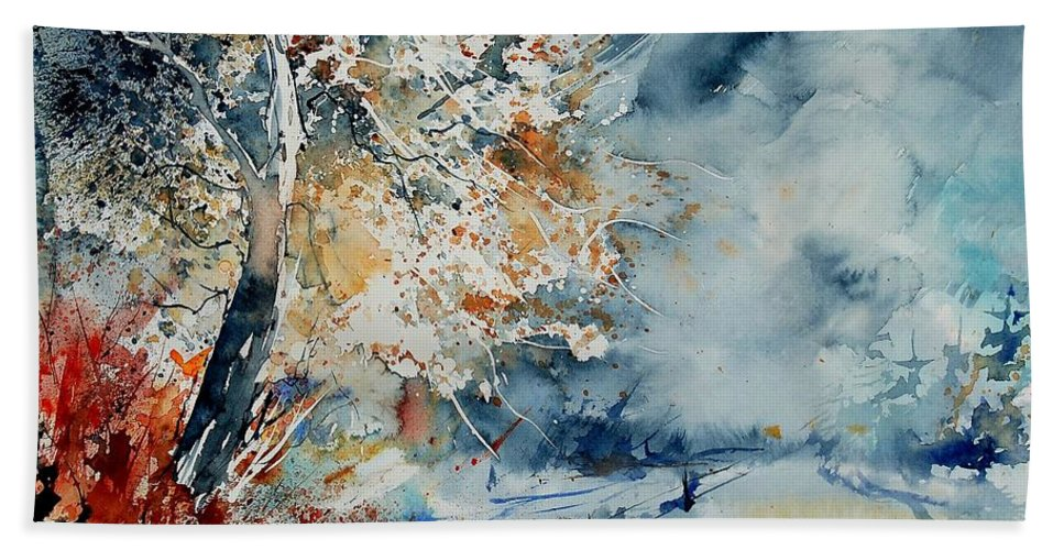 Landscape Bath Sheet featuring the painting Watercolo 2407063 by Pol Ledent