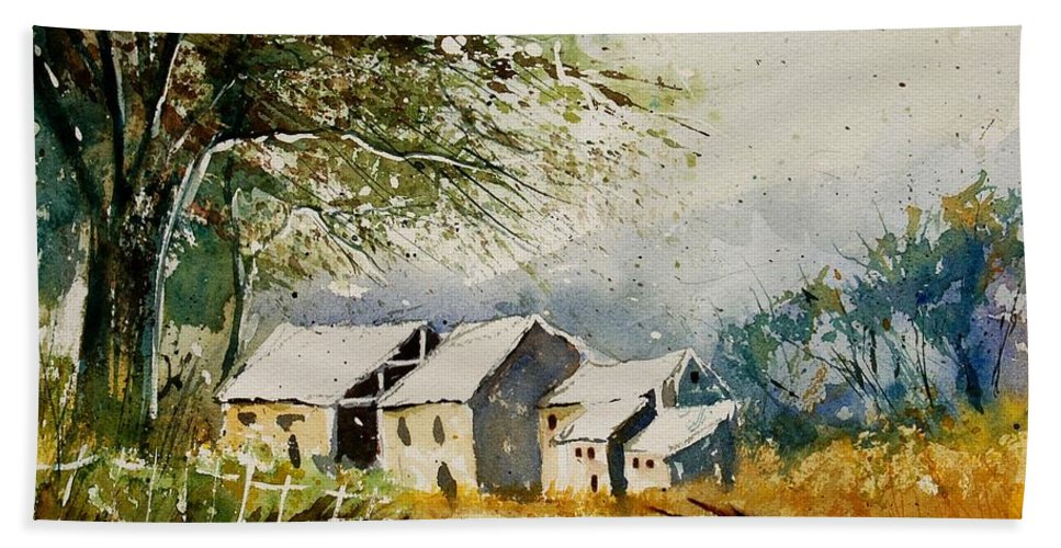 Landscape Hand Towel featuring the painting Watercolor 010708 by Pol Ledent
