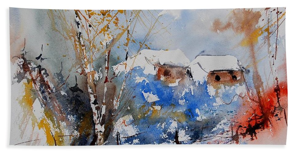 Landscape Hand Towel featuring the painting Watercolor 011020 by Pol Ledent