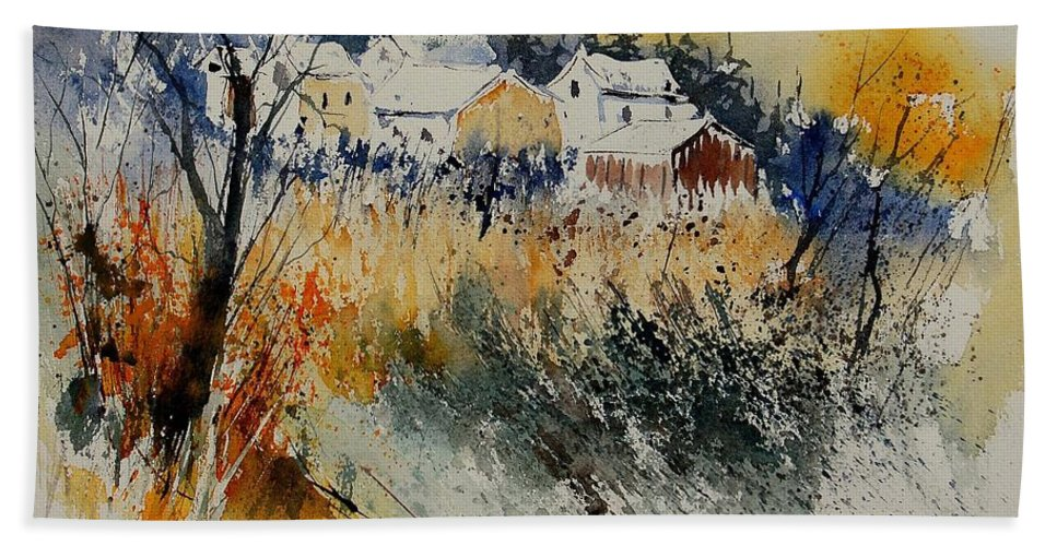 Landscape Hand Towel featuring the painting Watercolor 011071 by Pol Ledent