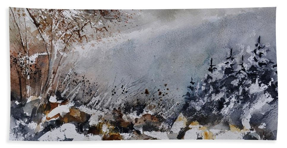 Landscape Bath Sheet featuring the painting Watercolor 011120 by Pol Ledent
