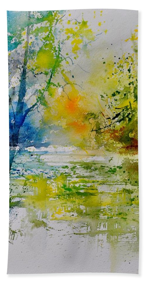 Pond Bath Sheet featuring the painting Watercolor 015003 by Pol Ledent