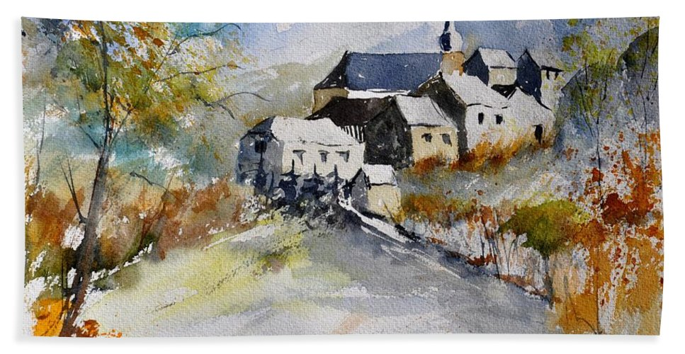 Landscape Bath Sheet featuring the painting Watercolor 015022 by Pol Ledent