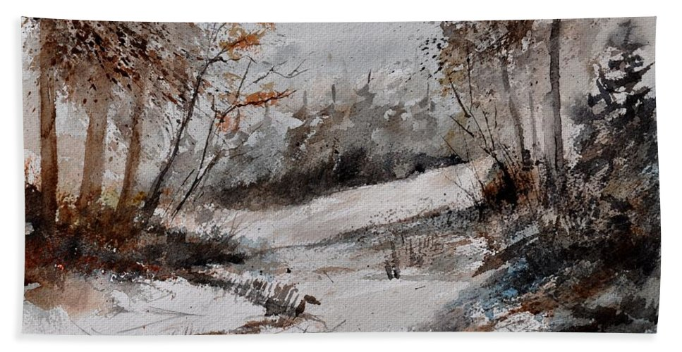 Landscape Bath Sheet featuring the painting Watercolor 017051 by Pol Ledent