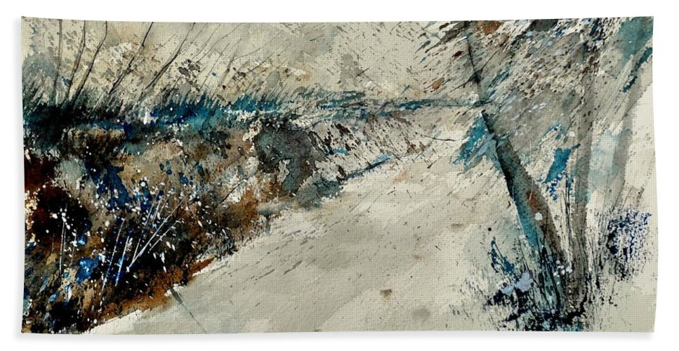 Landcape Hand Towel featuring the painting Watercolor 018001 by Pol Ledent