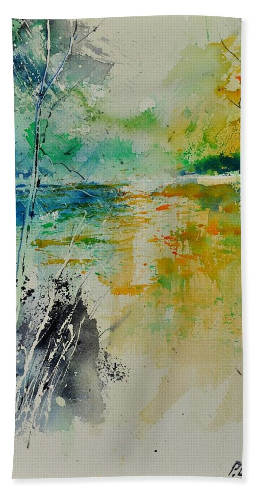 Pond Hand Towel featuring the painting Watercolor 018080 by Pol Ledent