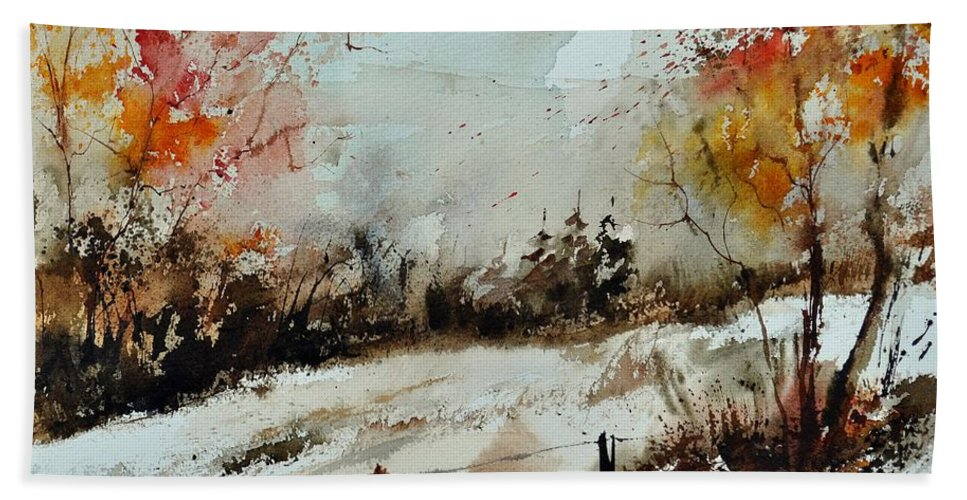 Bath Sheet featuring the painting Watercolor 018090 by Pol Ledent