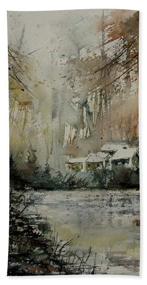 Landscape Bath Sheet featuring the painting Watercolor 070608 by Pol Ledent