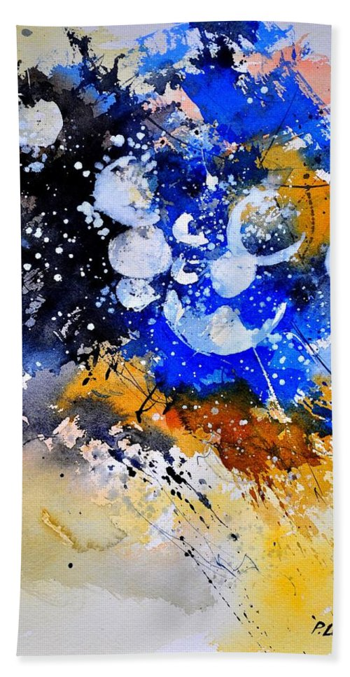 Abstract Hand Towel featuring the painting Watercolor 111001 by Pol Ledent