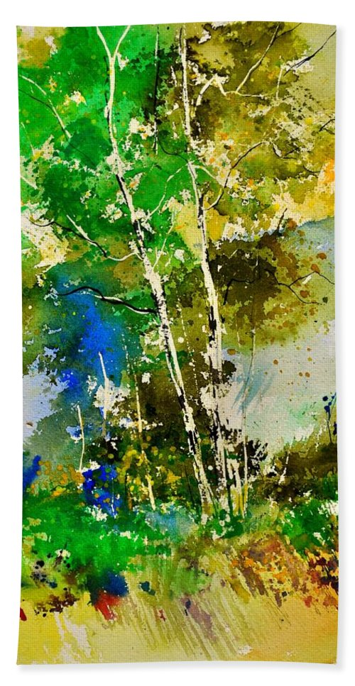 Landscape Bath Sheet featuring the painting Watercolor 111061 by Pol Ledent