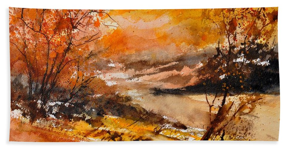 Landscape Hand Towel featuring the painting Watercolor 115011 by Pol Ledent
