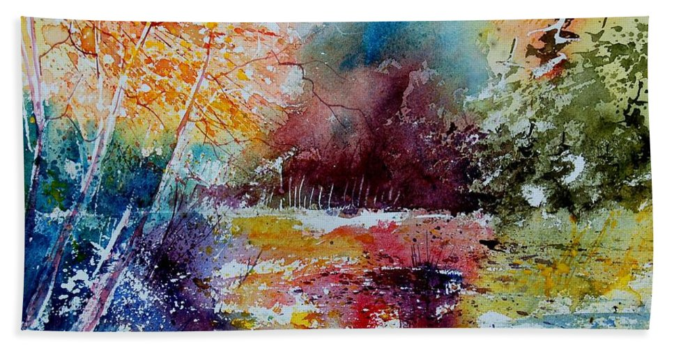 Pond Hand Towel featuring the painting Watercolor 140908 by Pol Ledent