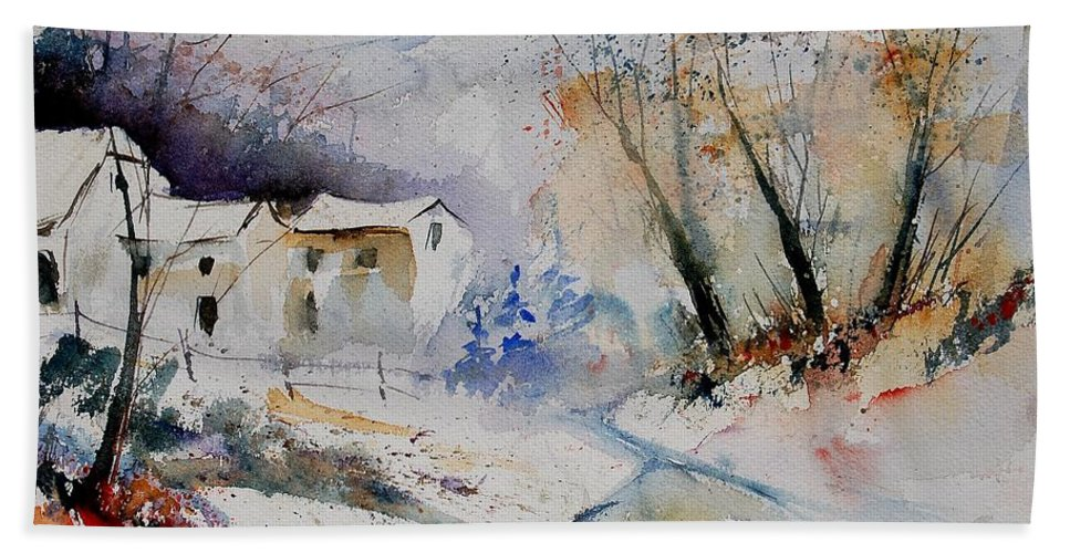 Village Hand Towel featuring the painting Watercolor 15823 by Pol Ledent