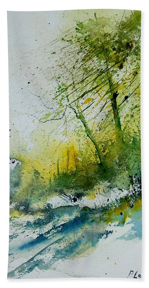 River Hand Towel featuring the painting Watercolor 181207 by Pol Ledent