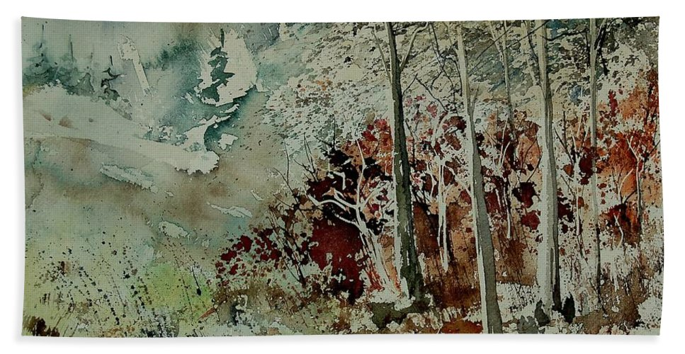Landscape Hand Towel featuring the painting Watercolor 200307 by Pol Ledent