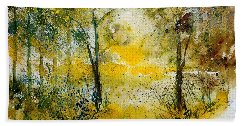 River Hand Towel featuring the painting Watercolor 210108 by Pol Ledent