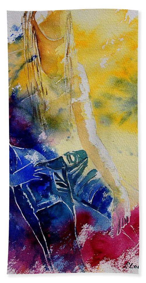 Girl Nude Hand Towel featuring the painting Watercolor 21546 by Pol Ledent