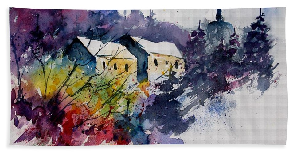 River Hand Towel featuring the painting Watercolor 231207 by Pol Ledent