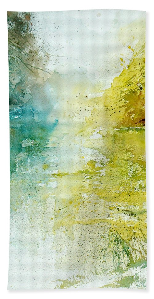 Pond Nature Landscape Bath Sheet featuring the painting Watercolor 24465 by Pol Ledent
