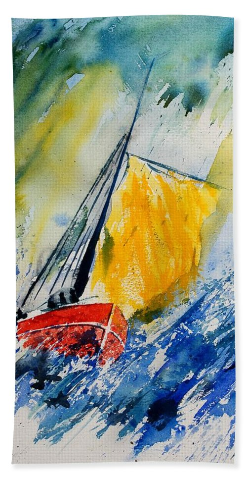 Sea Waves Ocean Boat Sailing Bath Sheet featuring the painting Watercolor 280308 by Pol Ledent