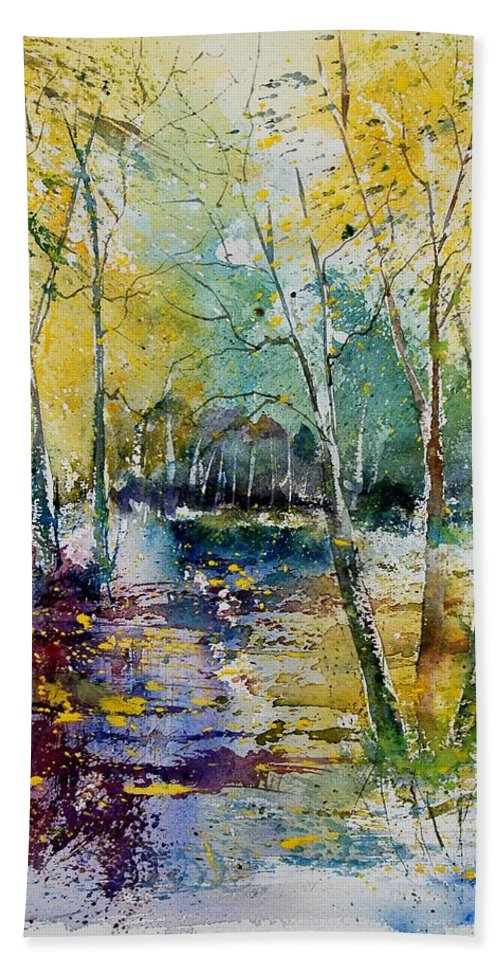Pond Hand Towel featuring the painting Watercolor 280809 by Pol Ledent