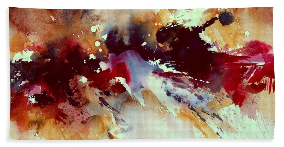Abstract Bath Towel featuring the painting Watercolor 301107 by Pol Ledent