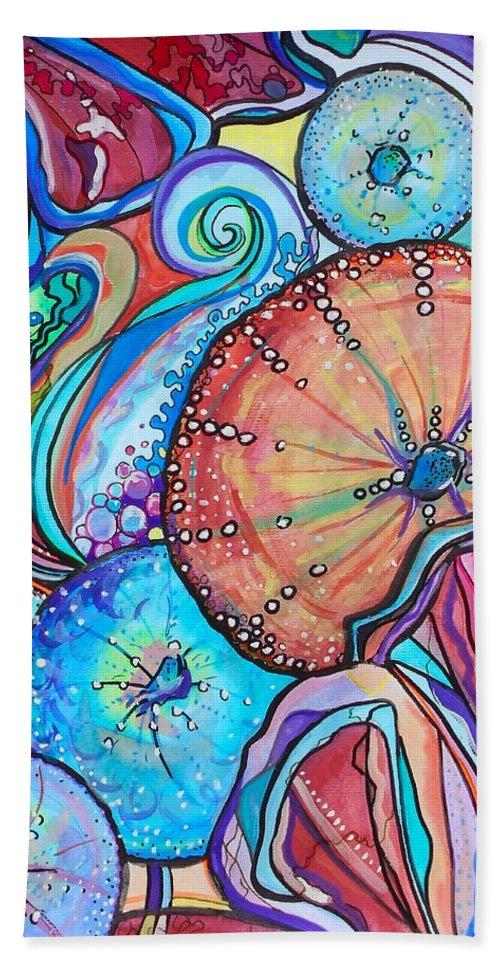 Bright Bath Sheet featuring the painting Watercolor #4 Sea Urchins by Jordan Bodenhamer