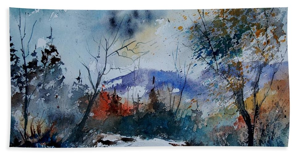 Landscape Hand Towel featuring the painting Watercolor 802120 by Pol Ledent