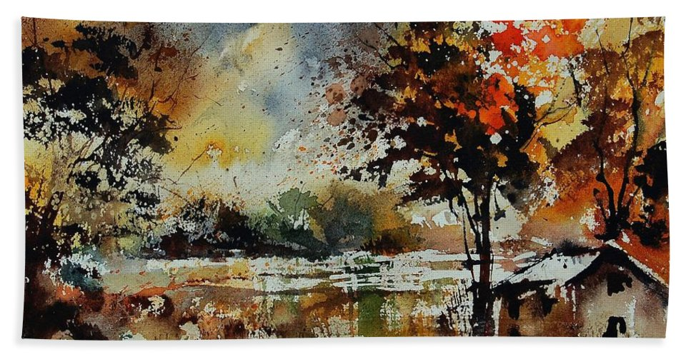 Tree Bath Sheet featuring the painting Watercolor 900152 by Pol Ledent
