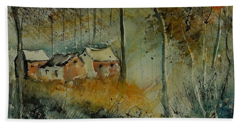 Landscape Hand Towel featuring the painting Watercolor 900170 by Pol Ledent