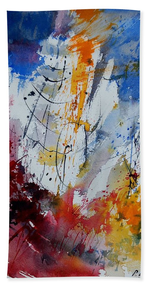 Abstract Hand Towel featuring the painting Watercolor 901120 by Pol Ledent