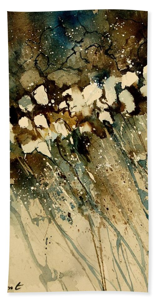 Abstract Bath Towel featuring the painting Watercolor 901140 by Pol Ledent