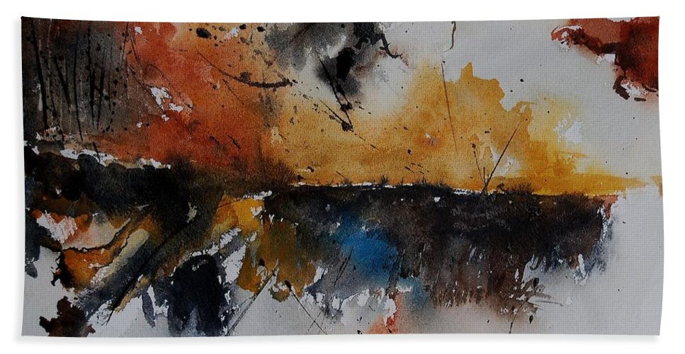 Abstract Hand Towel featuring the painting Watercolor 901150 by Pol Ledent