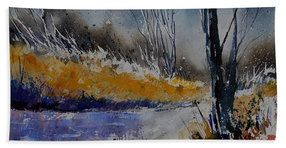 River Hand Towel featuring the painting Watercolor 902111 by Pol Ledent