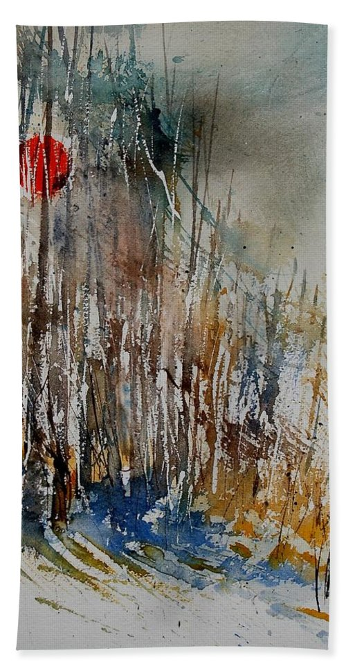 Hand Towel featuring the painting Watercolor 902112 by Pol Ledent